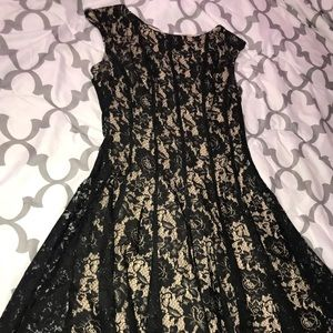 Cream dress with black lace